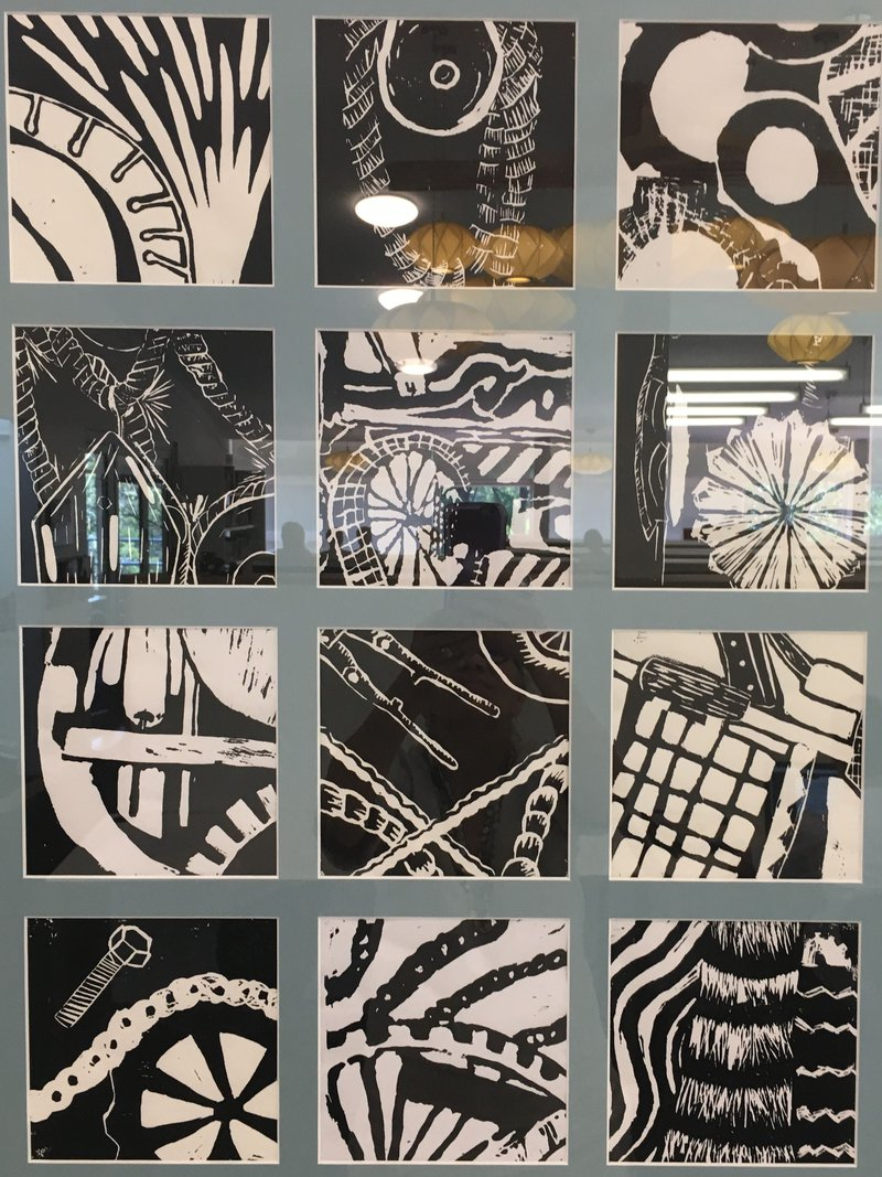 Year 8 2018 Linoprints - Cogs and wheels and things that move