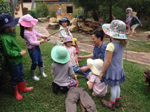 Kindergarten assistant Tanya helped the children make a scarecrow