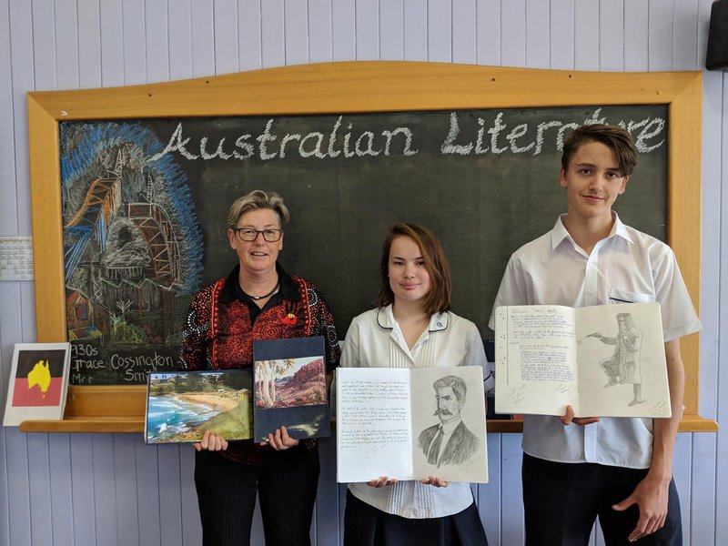 Glennis with some of her Year 11 Australian Literature students and their main lesson books