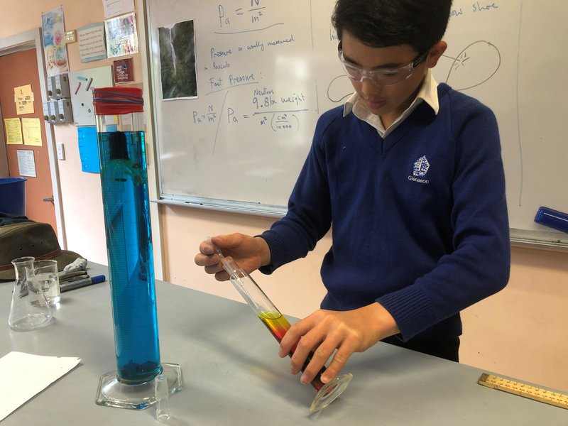 In the lab they continue their lessons on  the physics of air and water