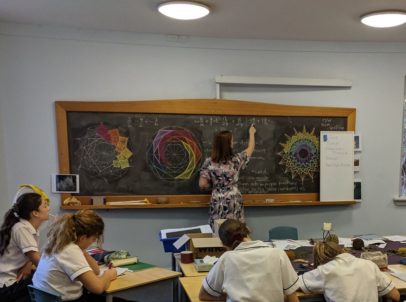 Teaching mathermatics to Class 7 with one of her stunning chalkboards