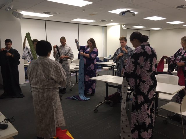 They learned how to wear a Yakata - how to wrap them correctly