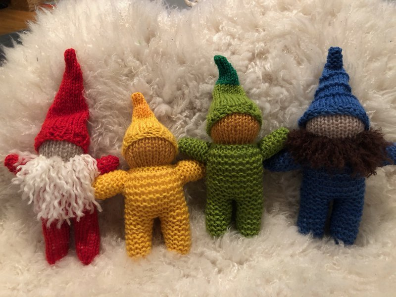 Knitted winter gnomes gather...
