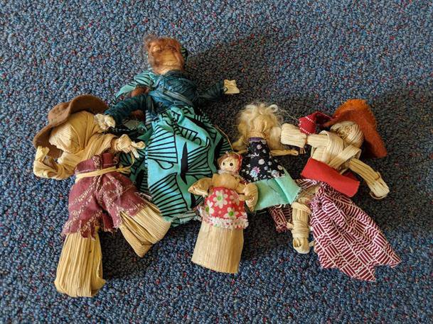 Harvest is coming : Class five making corn dolls