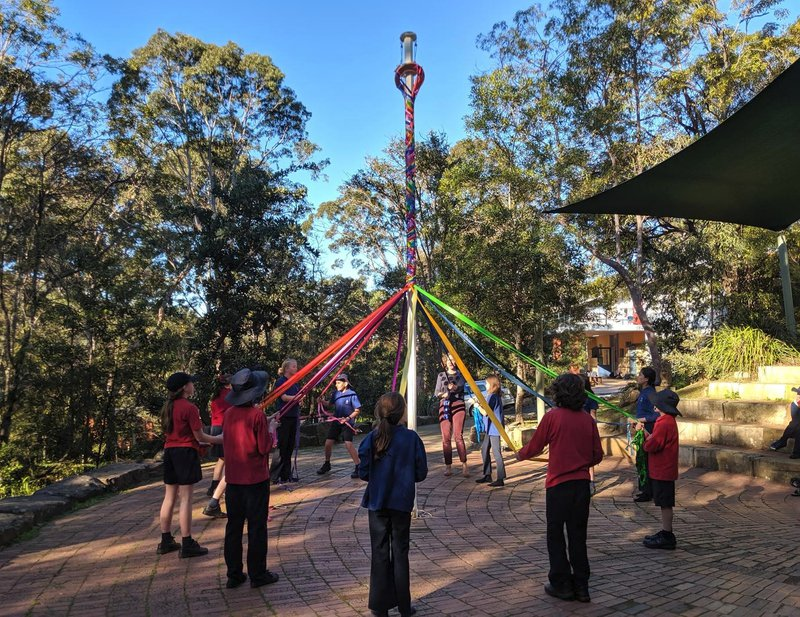 Class 5 learn the traditional Maypole dance