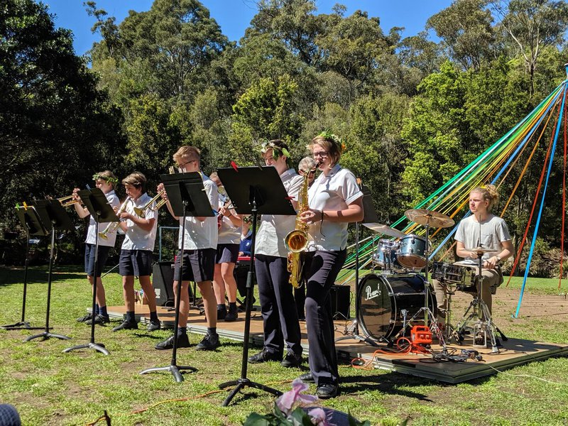 The Jazz Band played some tunes, including Bryn Arnold on the drums, who graduated Year 12.