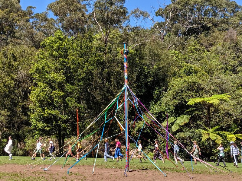 The woven dome of the maypole after the dance.