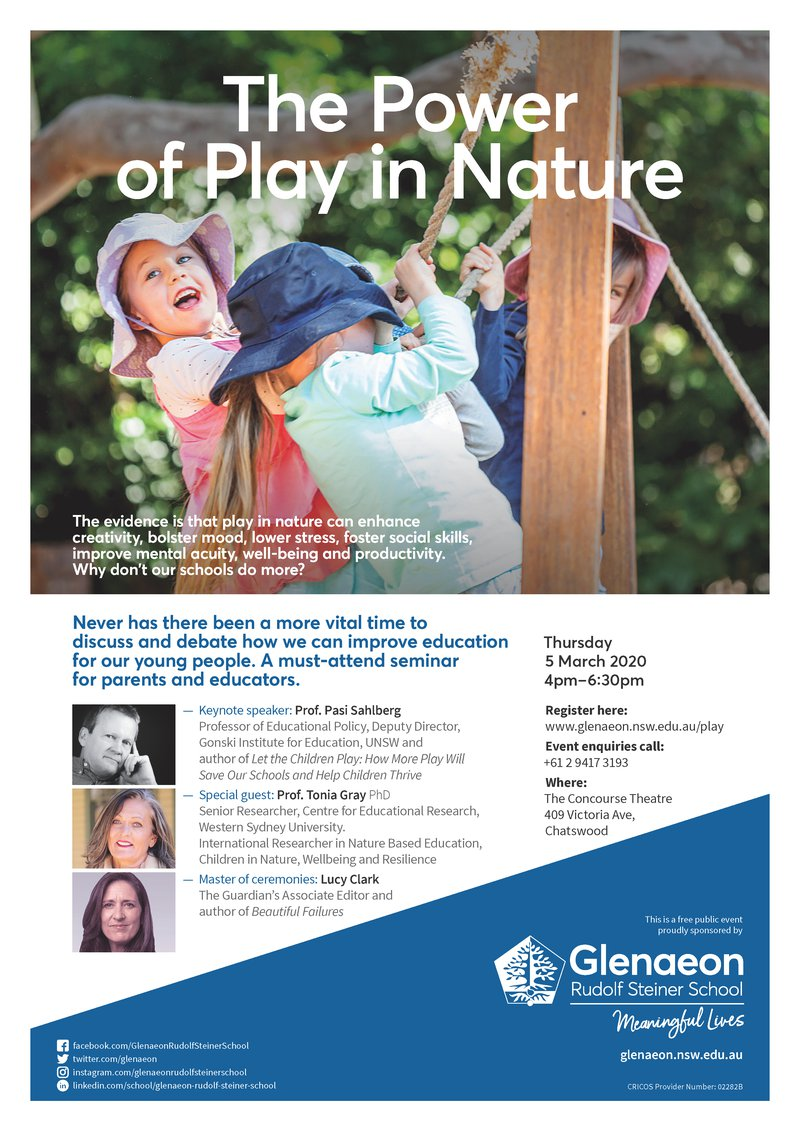 The Power of Play in Nature - last chance for tickets