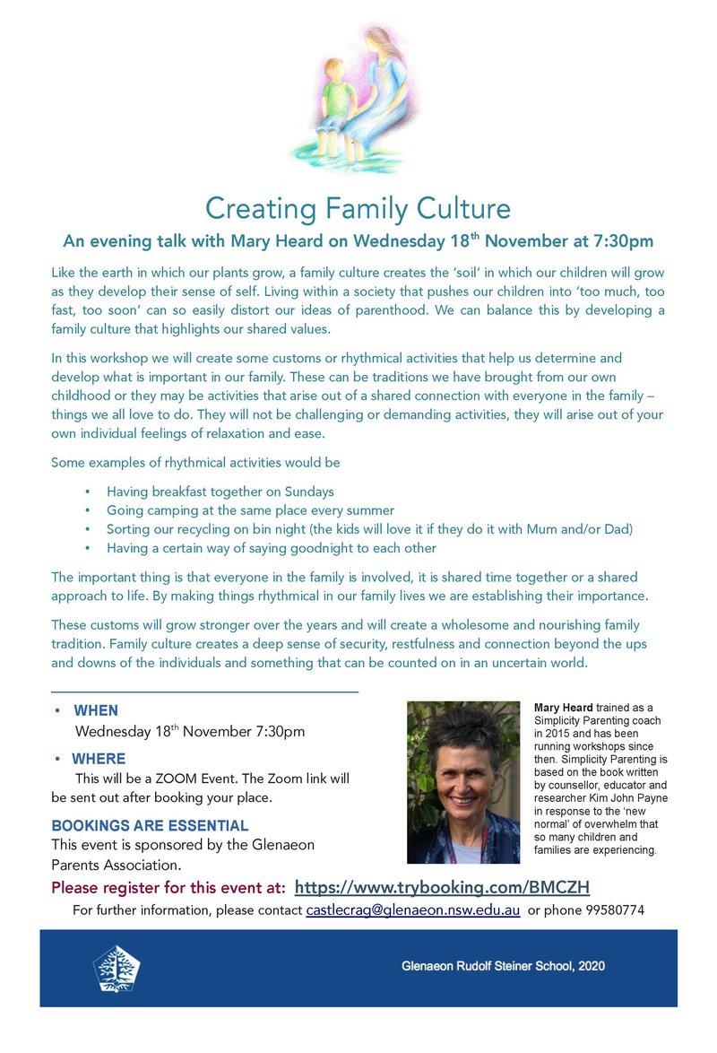 Creating Family Culture with Mary Heard – Wednesday 18 November 2020 via Zoom