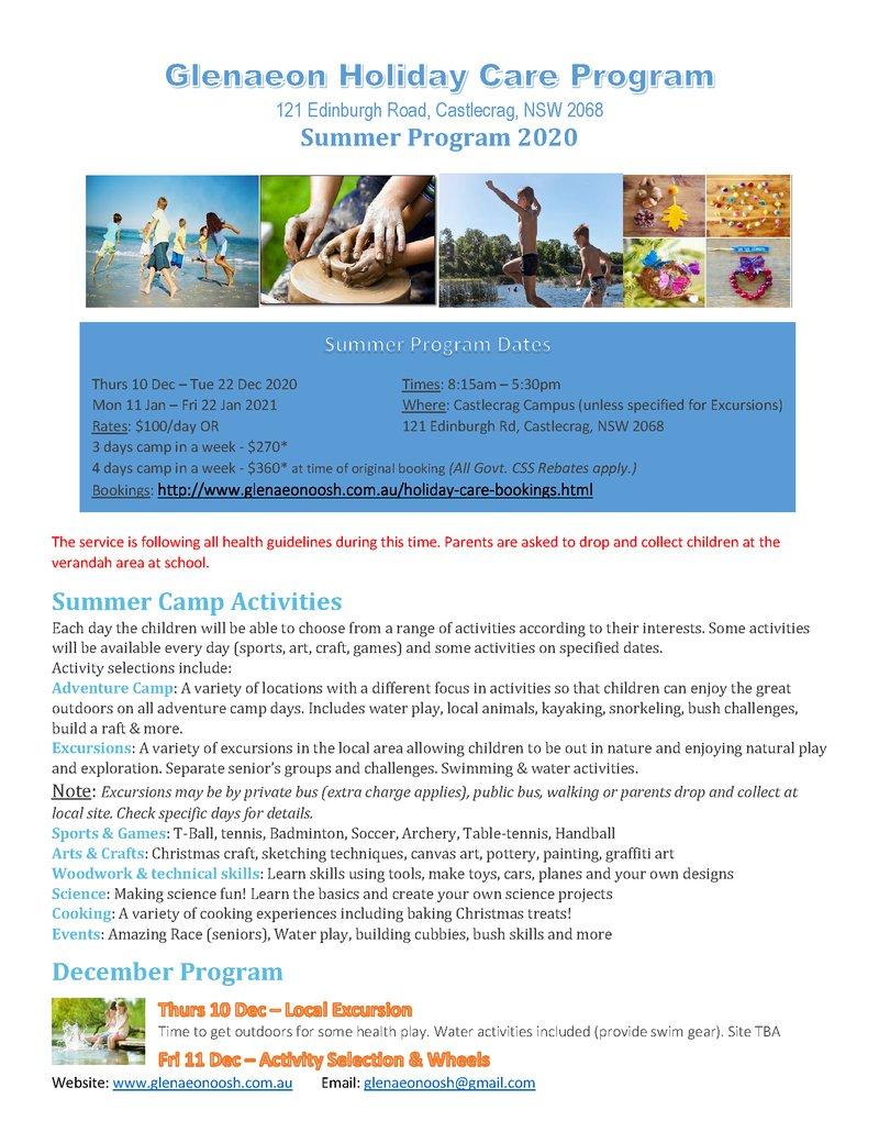 Glenaeon Holiday Care Program - book now!