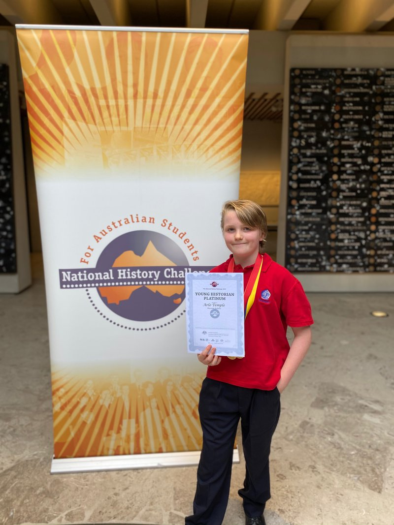 Year 5 Student Arlo Temple a National Winner in the National History Challenge 2020