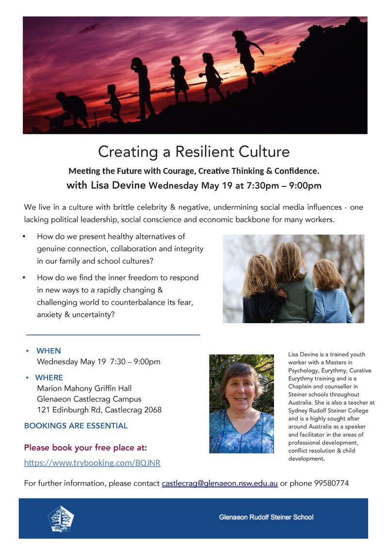 **DATE CHANGE** WED 19 MAY: Creating a Resilient Culture with Lisa Devine