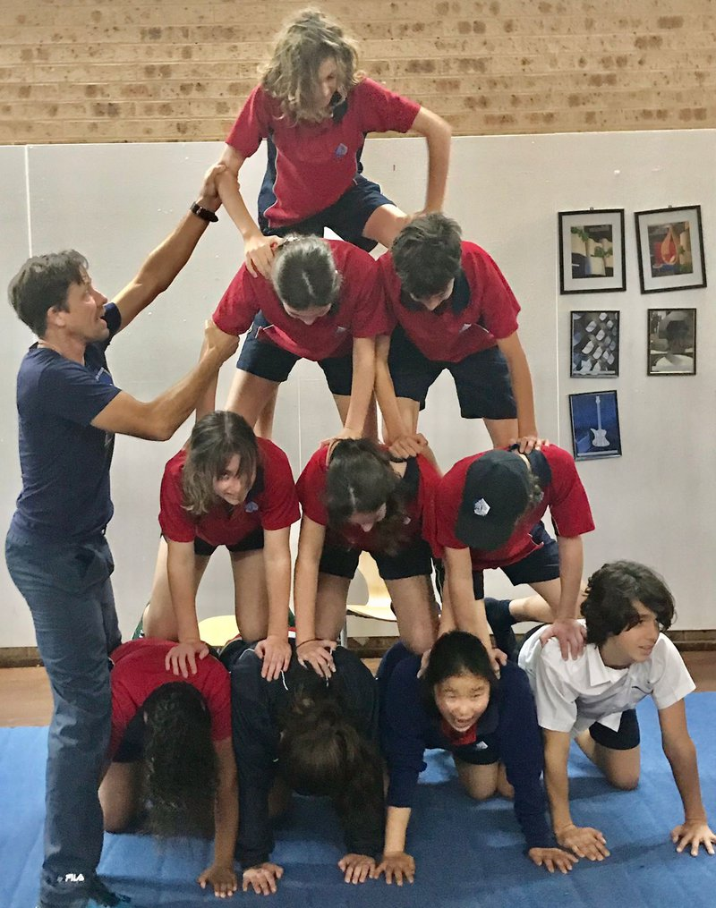 Year 8 master human pyramids and other physical feats!