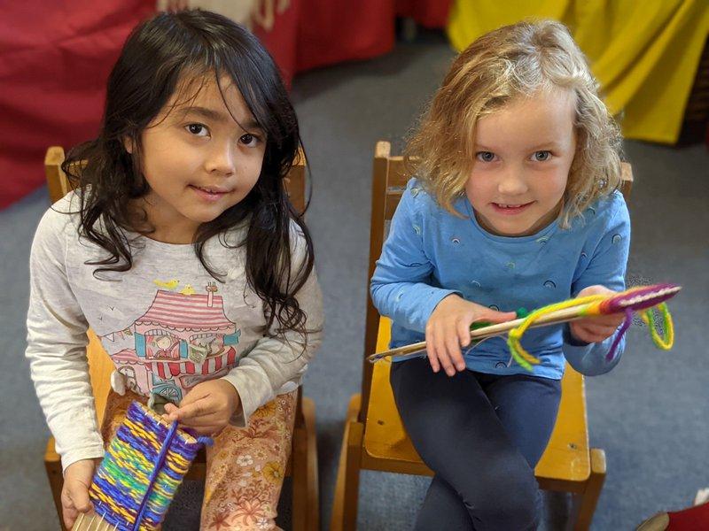 Class 1 begin weaving recorder bags