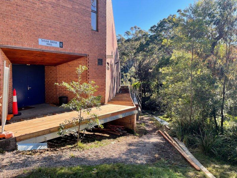 New pathways to surround the Sylvia Brose Hall