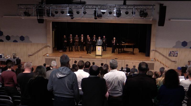The memorial service was held for Noel Weeks in the school hall last Saturday.